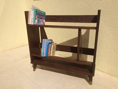 Mid Century Modern Vintage Solid Wood Book Stand Shelf Walnut Finish MCM Retro
