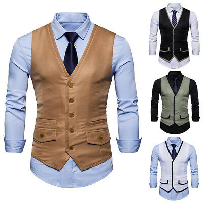 Mens Waistcoat Casual Formal Business Suit Retro Vest Slim Wedding Fit Coat Tops