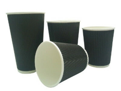 100 x 8oz BLACK 3-PLY RIPPLE DISPOSABLE PAPER COFFEE CUPS - UK MANUFACTURER