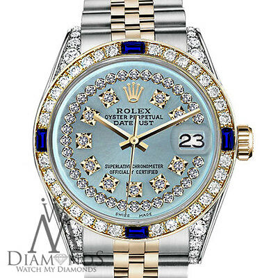 Rolex 26mm Datejust 2 Tone Ice Blue String Dial with Sapphire & Diamond Bezel