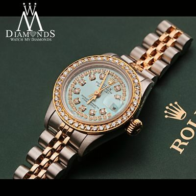 Women's Rolex 26mm Datejust 2 Tone Ice Blue String Diamond Dial Watch