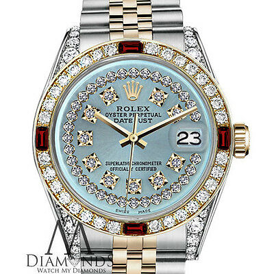 Ladies Rolex 26mm Datejust 2 Tone Ice Blue String Diamond Ruby Bezel Jubilee
