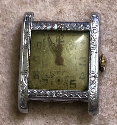 Vintage Embsa Men's Watch Parts/Repair Art Deco Swiss Hinge Case Wrist 15 Jewels