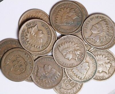 Roll Of 50 Coins Mixed 1900's Indian Head Cents Solid Good++ FREE P/H