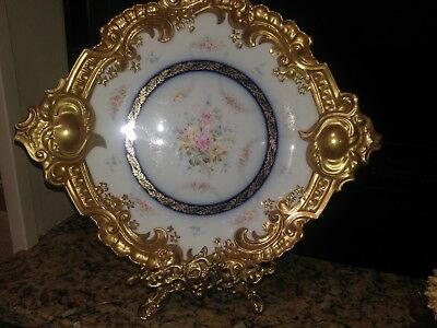 """French Limoges Porcelain Large Antique Plate 15"""" Across. Hand Painted."""