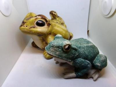 2 Different Yard & Garden Frogs Indoor or Outdoor - Spring Summer Water Garden