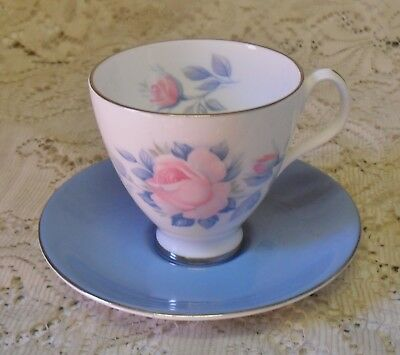 Vintage Royal Albert Sorrento Blue Pink Rose Duo Cup Saucer Made In England