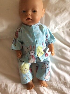 """DOLLS CLOTHES - Pyjamas to fit 17"""" Baby Born doll ~ Mint. Cute Bunnies"""