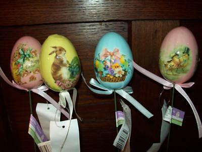 """New Set Of 4 12"""" Easter Picks For Plants Florals Chicks Bunny Decoupage Prints"""