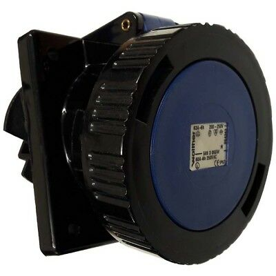 63 AMP WALTHER PANEL ANGLED SOCKET BLK  3 PIN 240v IP67 **FREE DELIVERY**
