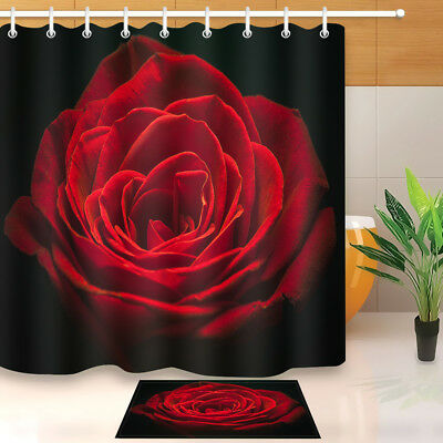 Red Roses Champagne Valentine Polyester Fabric Shower Curtain Set Bathroom Decor