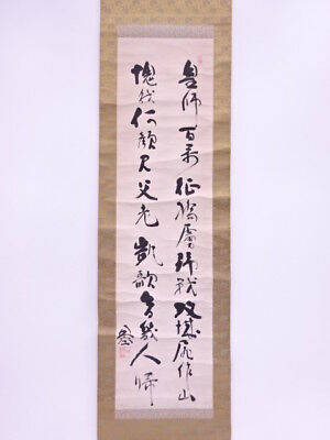 3464157: Japanese Wall Hanging Scroll / Hand Painted / Calligraphy