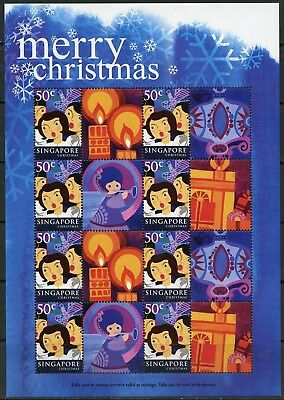 Singapore 2004 Merry Christmas Set Of Two Personalized Sheets 8 Stamps Each Mint