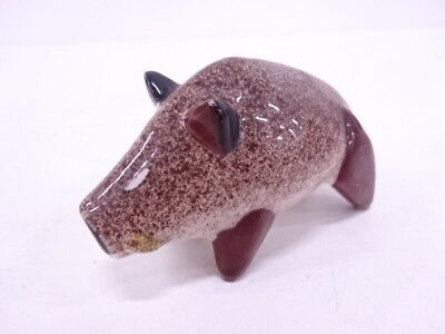 3454016: Japanese Pottery Wild Boar Tooth Pick Case Holder