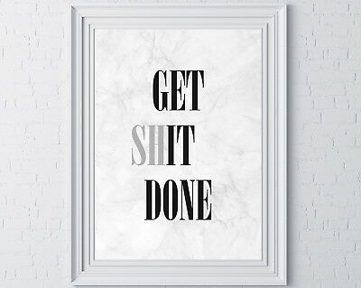 Get It Done Wall Print Gift Typography Inspirational Motivational Art Marble
