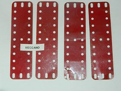 Meccano PN189  Red elongated end holes two stamped MECCANO