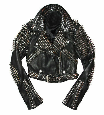 Handmade Mens Fashion Jackets Real Silver Studs Pure Soft Leather For Mens