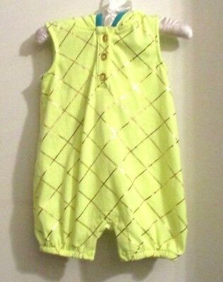 Unisex New Green /gold Pineapple Hooded Romper Size0-3 Mos.