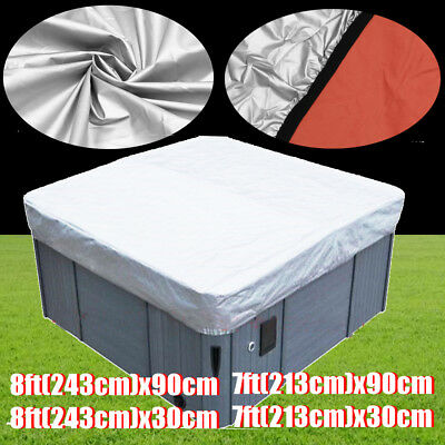 Silver Hot Tub Spa Oxford Fabric Cover Cap 7ft/8ft Sun Shield Jacket Protector