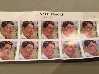 Sheet of 10 usable Ronald Reagan FOREVER USPS stamps