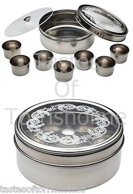 Kitchen Craft Stainless Steel Indian Herb Spice Tin Box Masala Dabba Storage Set
