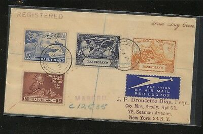 Basutoland   41-44  UPU stamps   on cover  to US  registered  1949      MS1224