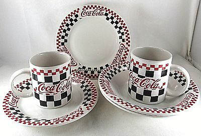 Coca Cola Dishware Checkerboard Design Plate Bowl Mug Lot 6 Vintage 1997 Gibson