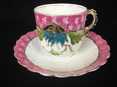 Germany Hand Painted Pink Tea Cup and Saucer with Shadow Flowers and Gold Enamel