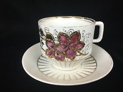 Germany Hand Painted Floral Tea Cup and Saucer Gold Enamel Early 1900's