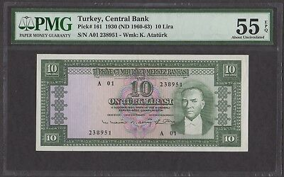 Turkey 1930 (ND 1960-63) P-161 PMG AU 55 EPQ 10 Lira