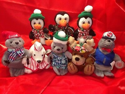 Coca Cola Bean Bag Plush Stuffed Animals Set Of 8 With Tags
