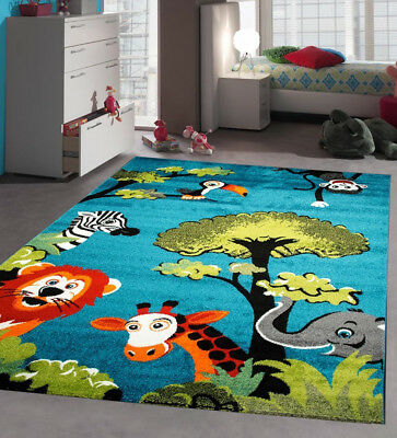Kids Bedroom Rug Blue Green Animal Jungle Children Playroom Carpet Soft Play Mat