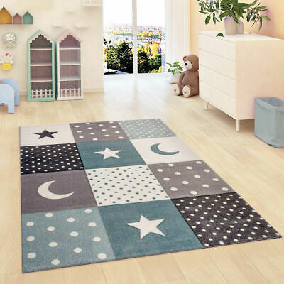 Kids Rug Grey Blue Star Nursery Uni Children Bedroom Play Room Carpet Mat
