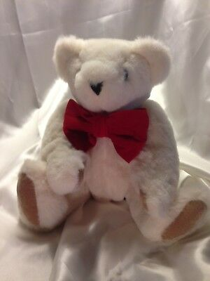 """Vermont Teddy Bear With Big Red Bow 16"""" Jointed"""