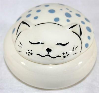 Cleopatra Ceramic Blue Spotted Cheshire Cat Novelty White Trinket Box With Lid