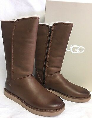 abc91c32133 UGG ABREE II NERO Bruno LEATHER SHEARLING TALL WOMENS BOOTS 1016587 size 5