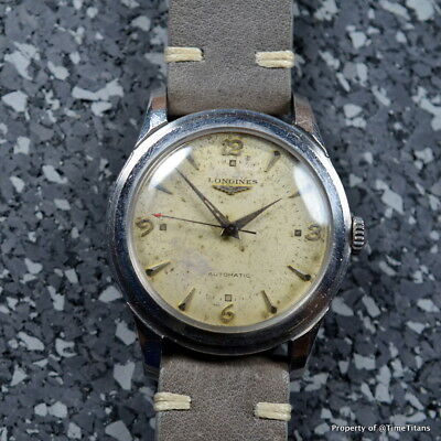 LONGINES Ref. 6280 SEI TACCHE 35MM AUTOMATIC STAINLESS STEEL PATINA DIAL 1940s