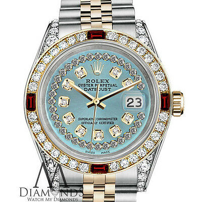 Ladies Rolex SS & 18k 26mm Datejust Ice Blue String Dial Ruby & Diamond Watch