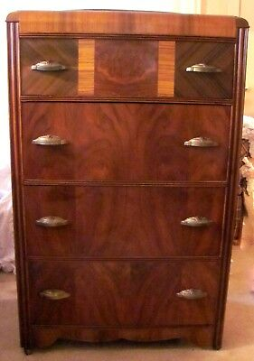 Antique Vintage Art Deco Waterfall Chest of Drawers
