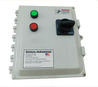 Elimia Combination Motor Starter 460-480V 5.5-8 Amp 5 HP Waterproof Dis 480 Volt