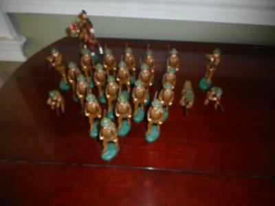 Vtg  Lot Of 23 Elastolin Germany Painted Composition Soldiers W/ Mounted Horse