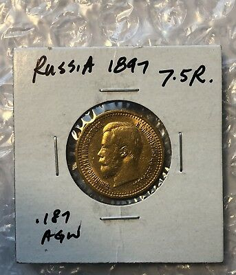 1897 Russian Gold Coin 7.5 Rouble