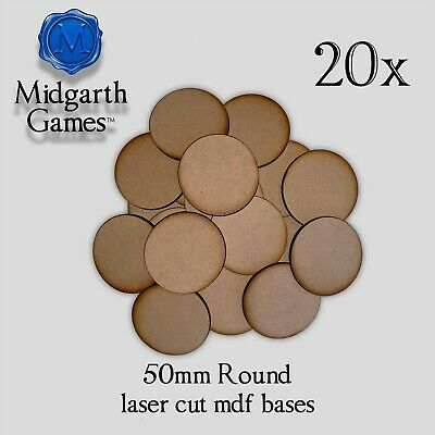 20x 50mm Round MDF Miniature Bases 3mm Laser-cut Warhammer FREE SHIPPING