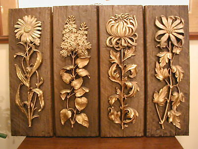 """Mid Century Vintage Floral Wall Hanging Panels Syroco  - 23"""" tall"""
