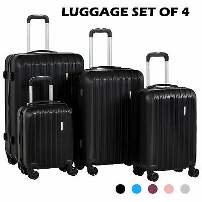 3/4Pcs ABS Trolley Carry On Travel Luggage Set Bag Spinner Suitcase w/Lock