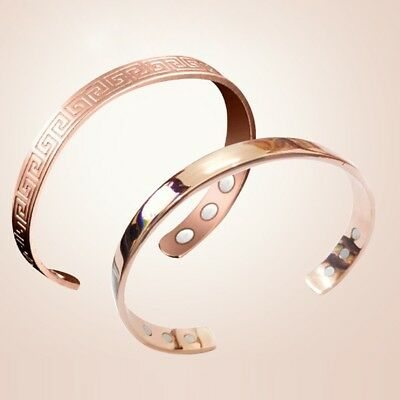 Unisex Magnetic Copper Bracelet Arthritis Therapy Pain Relief Bangle Healing .