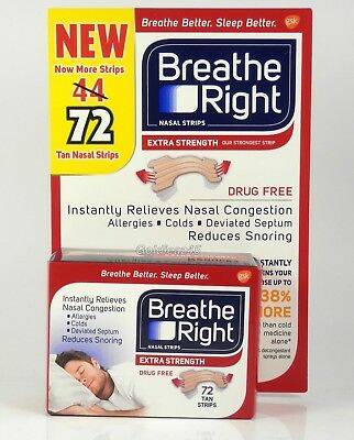 Breathe Right Extra Strength Nasal Strips Tan 44 Strips 50% Stronger