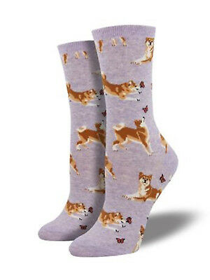 Shiba Inu Dog Sock - Purple Heather SockSmith Cotton Womens