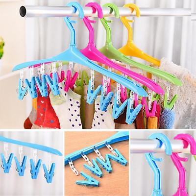 Clothes Hanger with Clips Plastic Laundry Clothes Socks Drying Rack Drip EH