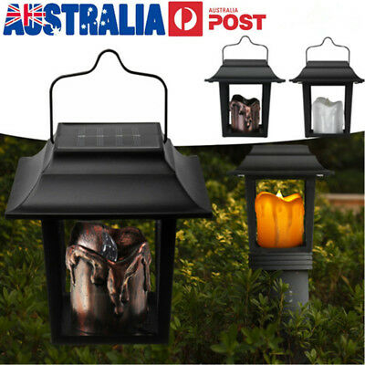 Solar Power LED Candle Light Lantern Outdoor Garden Path Yard Hanging Wall Lamp